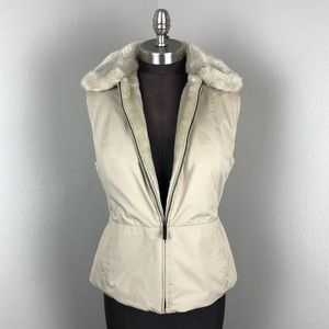 Ann Taylor Faux Fur Lined Cream Puffer Vest Small